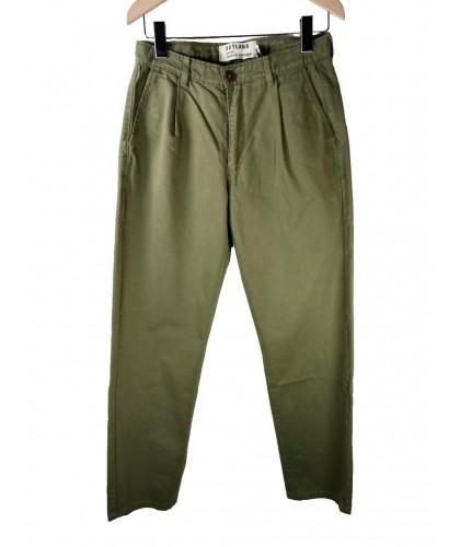 Pantalon à pinces en toile olive OUTLAND