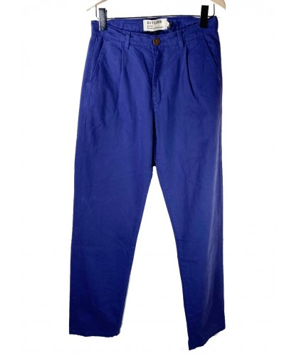 Pantalon à pinces en toile bleu indigo OUTLAND