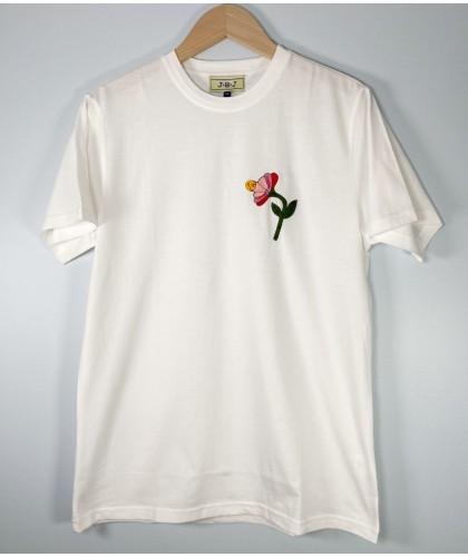T-shirt brodé blanc à fleur...