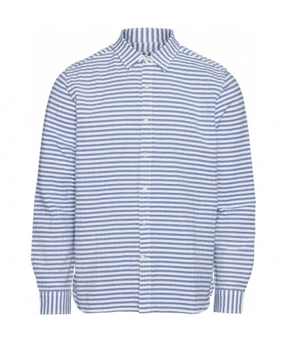 Light blue & White Organic Striped Shirt KNOWLEDGE COTTON APPAREL