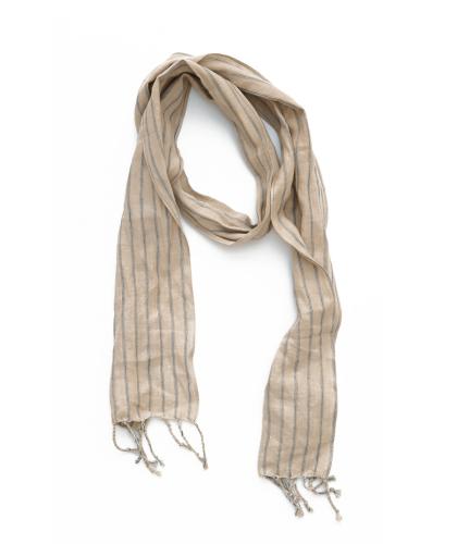 Off-white Striped Linen...