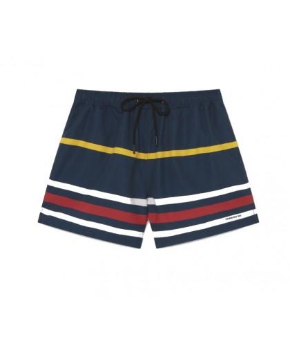 Navy Striped Recycled Swim Shorts THINKING MU