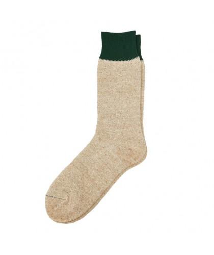 Chaussettes soie coton beige et vert ROTOTO