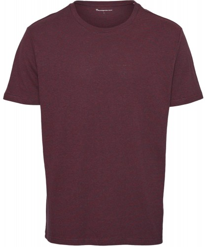 T-shirt chanvre rayé bordeaux KNOWLEDGE COTTON APPAREL