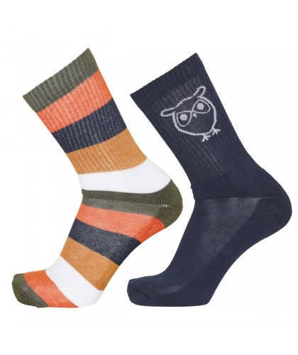 2 paires de chaussettes color block KNOWLEDGE COTTON APPAREL