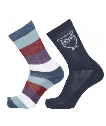 2 paires de chaussettes color block bleu KNOWLEDGE COTTON APPAREL