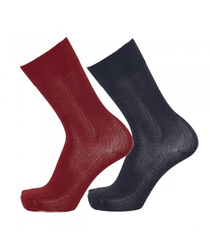 2 paires de chaussettes marine et bordeaux KNOWLEDGE COTTON APPAREL