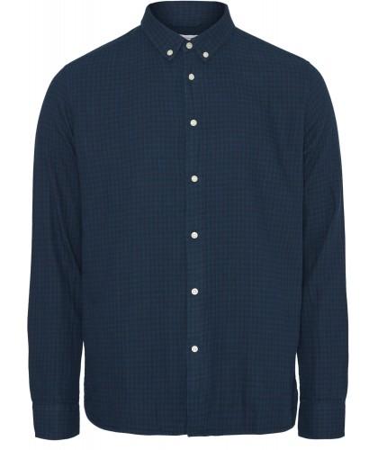 Chemise double épaisseur à carreaux bleu KNOWLEDGE COTTON APPAREL