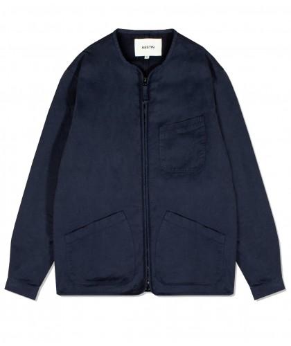 Navy Zipped Overshirt KESTIN