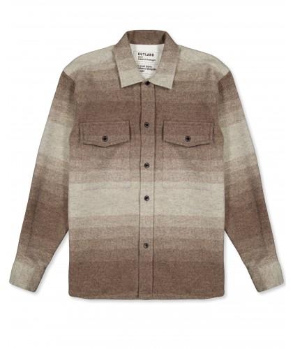 Surchemise en laine rayée écru-brun OUTLAND