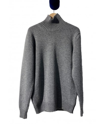 Pull Lambswool Col Cheminée Gris COUNTRY OF ORIGIN