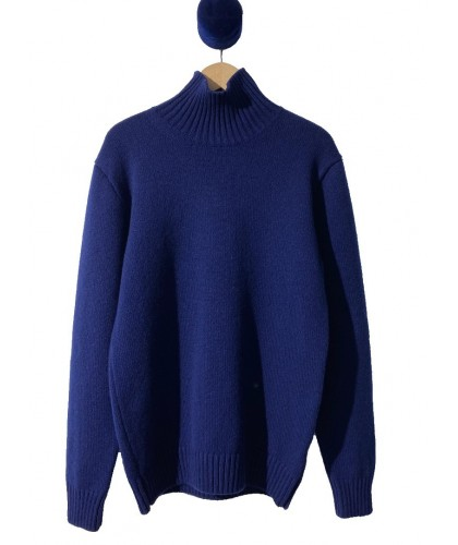Lambswool Royal Blue Funnel Neck Sweater COUNTRY OF ORIGIN