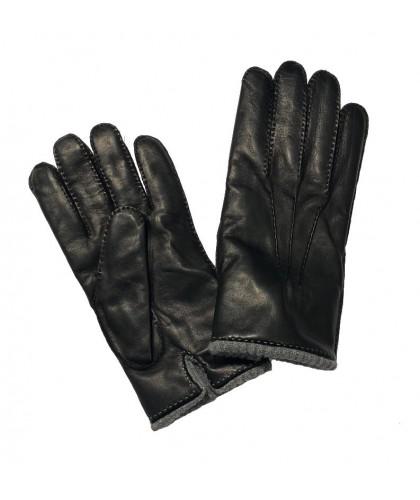 Gants en cuir noir doublés...