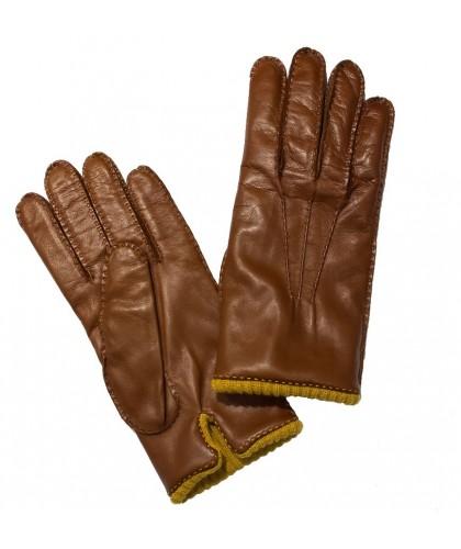 Gants en cuir marron clair...