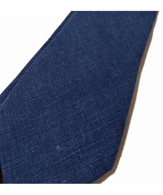 Cravate en toile de lin gratté marine DE BONNE FACTURE