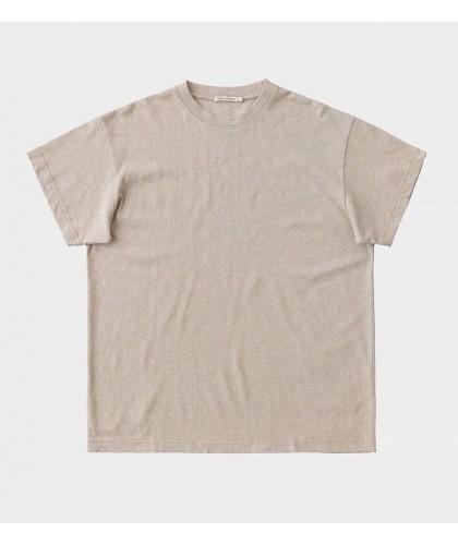 T-shirt en coton recyclé beige chiné NUDIE JEANS
