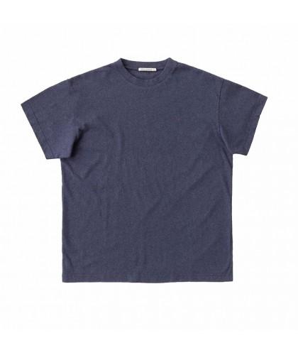 T-shirt en coton recyclé bleu chiné NUDIE JEANS