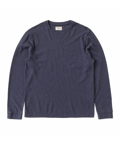 T-shirt ML en coton recyclé bleu chiné NUDIE JEANS