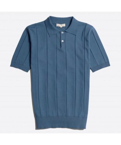 Blue Knitted Polo Shirt FAR...