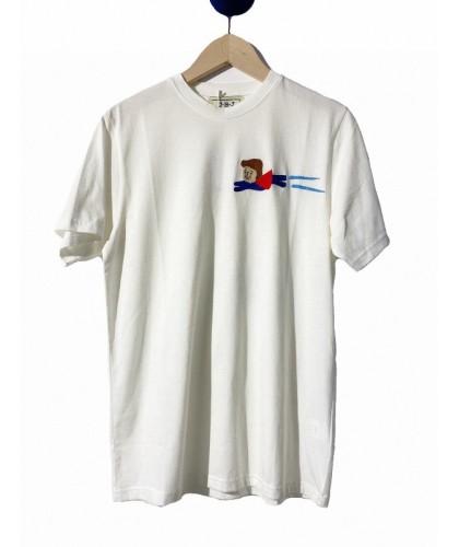 T-shirt blanc brodé main...
