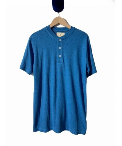 Henley Ribas coton-lin bleu...