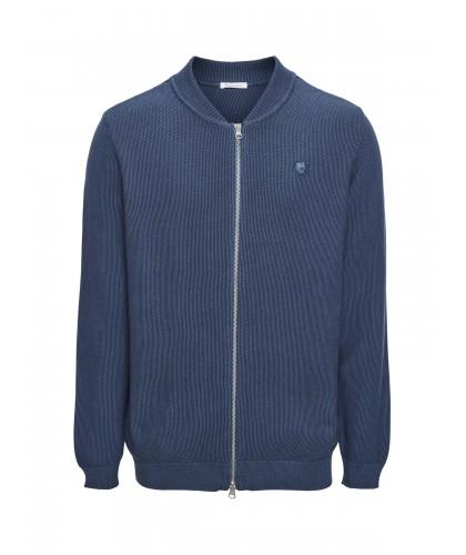 Cardigan bleu à zip en...