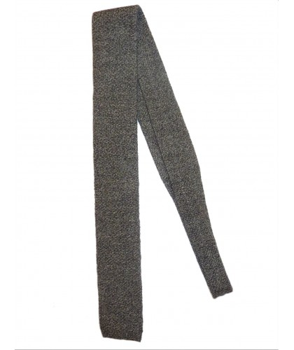 Light wool knitted heathered grey tie De Bonne Facture