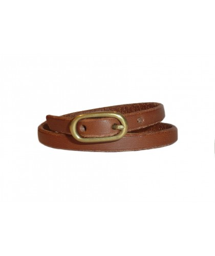 Brown leather bracelet with ovale brass buckle KikaNY