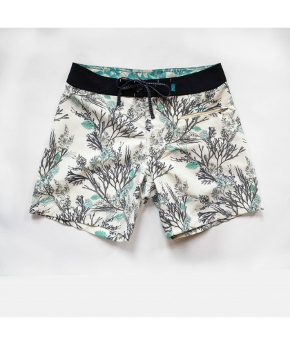 "Recycled swim short ""Burgh Seaweed Chalk"" Riz Boardshorts"