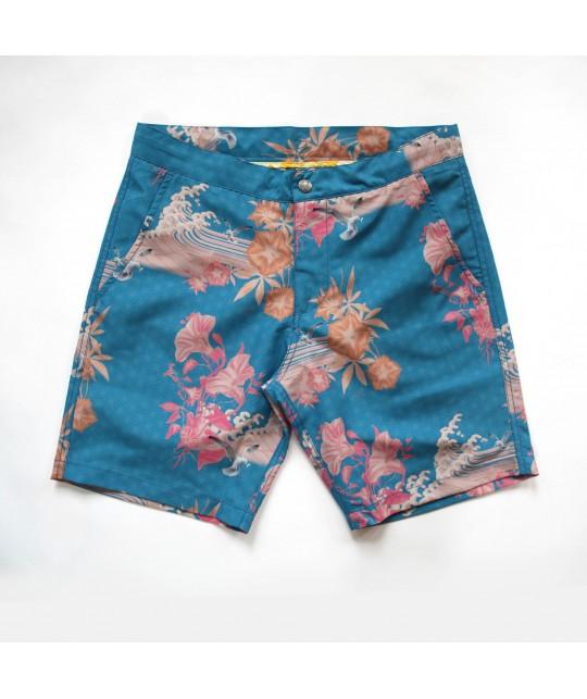"Recycled beach short ""Braunton Japanese Gul Blue"" Riz Boardshorts"