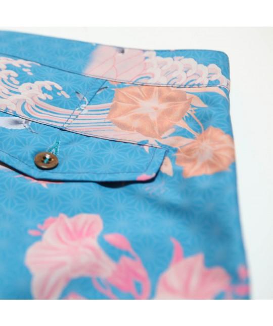 "Maillot de bain recyclé ""Braunton Japanese Gul Blue"" Riz Boardshorts"