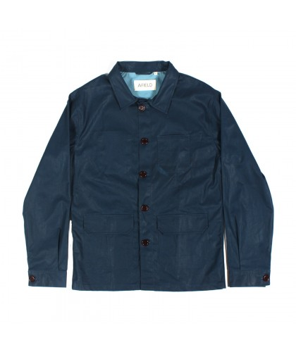 Navy waxed cotton worker jacket Porter Afield