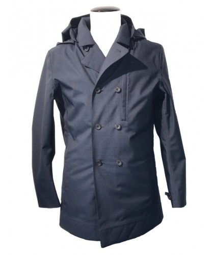 Double Breasted Mixed Deep Navy waterproof Caban NORWEGIAN RAIN