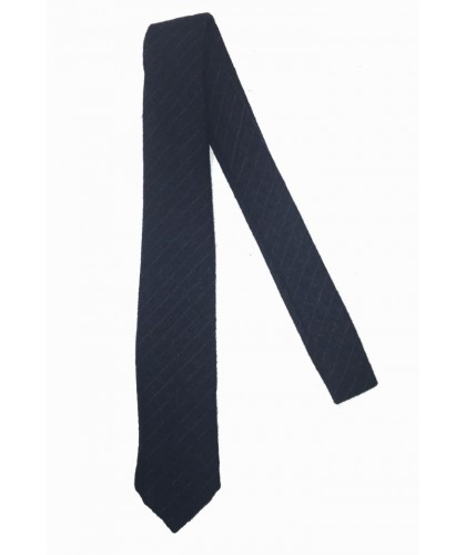 Navy wool and cotton Pinstripe Tie DE BONNE FACTURE