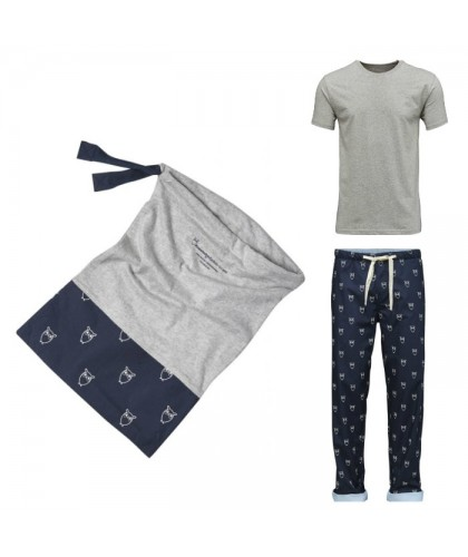 Organic Cotton Pyjama Set (trousers/tee/bag) KNOWLEDGE COTTON APPAREL