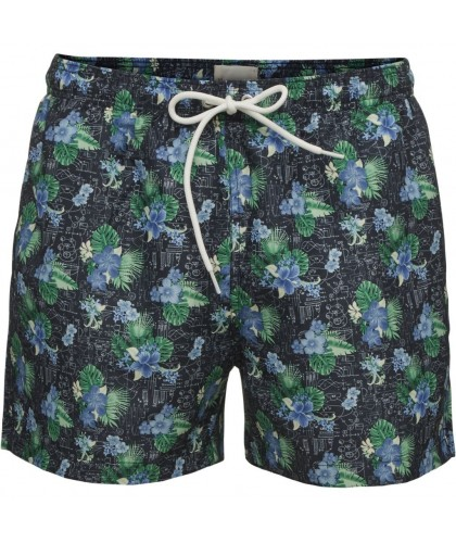 Navy Flower Print recycled swim shorts KNOWLEDGE COTTON APPAREL