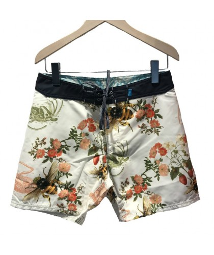 Recycled Burgh Endangered Bee Chalk Swim Shorts RIZ BOARDSHORTS