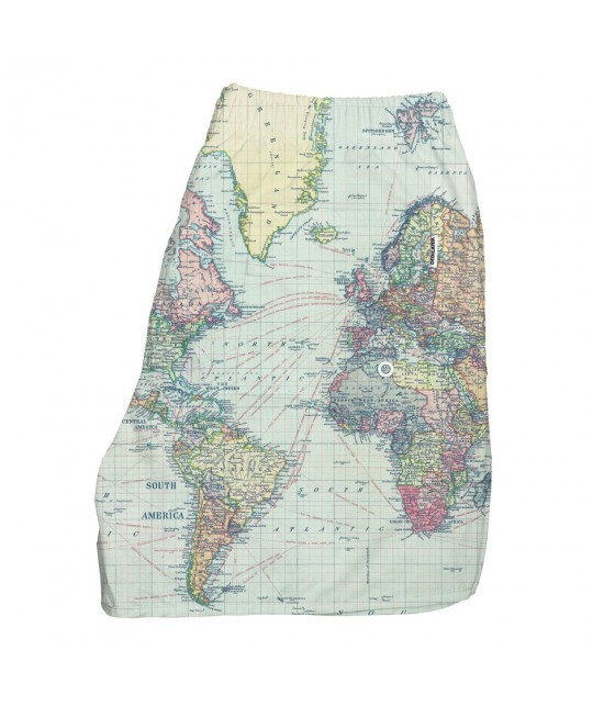 Short de bain Mappemonde polyester recyclé DEDICATED