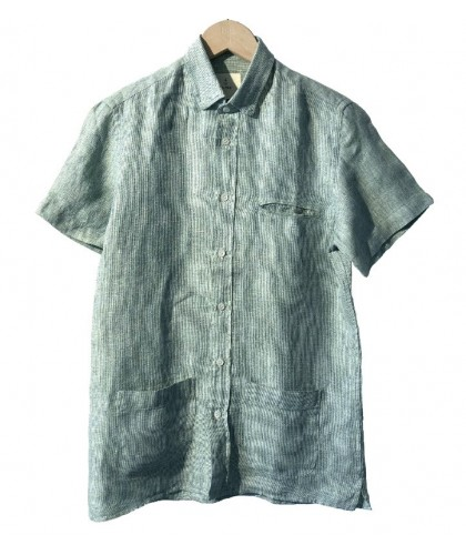 Green checked linen Castro shirt with pockets LA PAZ