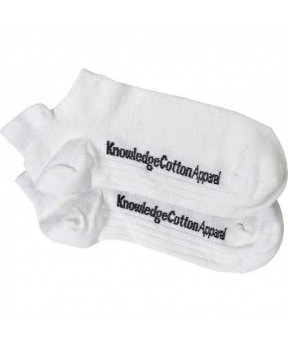 2 paires chaussettes basses bambou BLANC KNOWLEDGE COTTON APPAREL