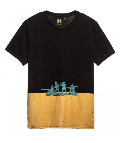 Black and yellow 'Soldiers' printed tee TEE LIBRARY