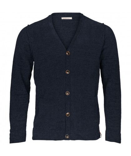 Cardigan Chenille Marine bio KNOWLEDGE COTTON APPAREL