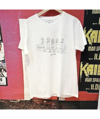 """Beach Boys"" White Organic Fairtrade Tee THINKING MU"