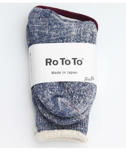 Chaussettes marine double face merino / coton bio ROTOTO