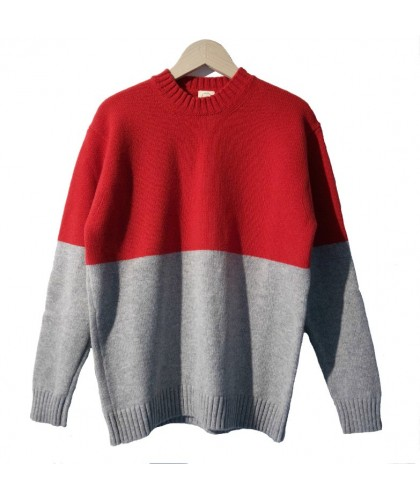 Lambswool Red & Grey Colour Block Sweater COUNTRY OF ORIGIN