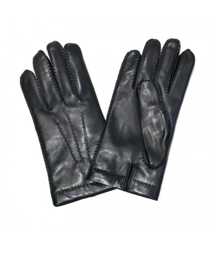 Black Leather Gloves with Charcoal Cashmere Lining MEROLA