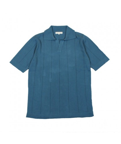 Open Collar Blue Vintage Polo Shirt FAR AFIELD