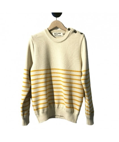 Off-White Sweater with Yellow Stripes OUTLAND