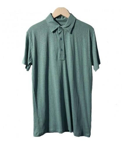 Hemp and Organic Cotton Green Polo Shirt THINKING MU