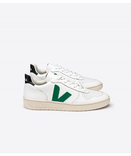 V10 Leather Extra White Emeraude Black VEJA